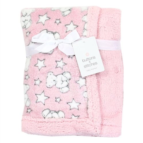 BUTTONS & STITCHES Soft Printed Sherpa Baby Blanket