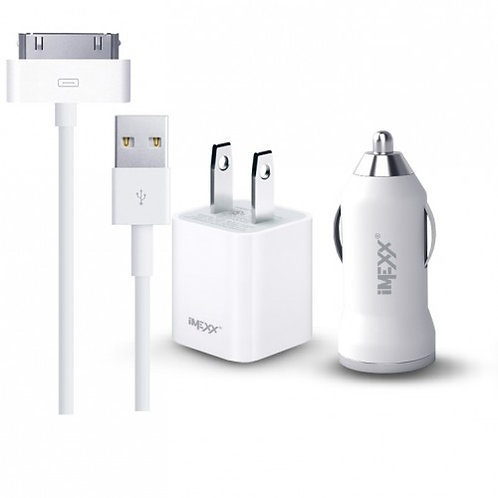 Imexx 3 IN 1 Charging Kit For Apple 30 Pin Connector