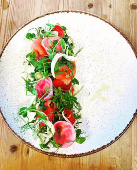 Smoked salmon, fennel and grapefruit.