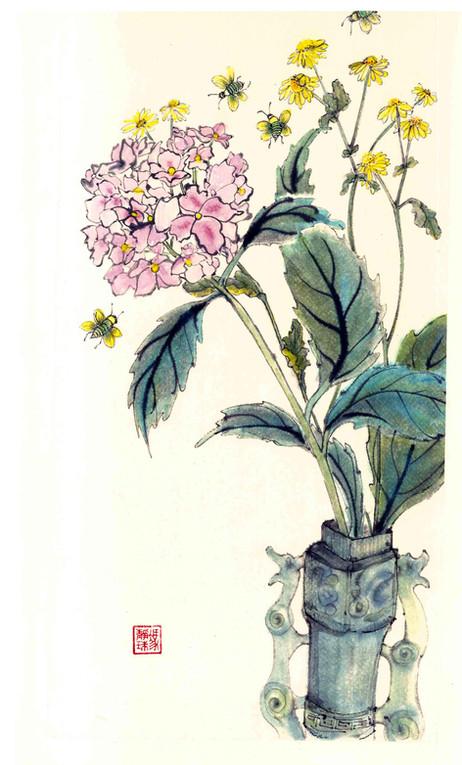 'Hydrangea & Bees'