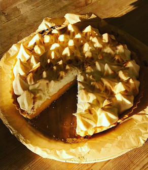 This slice of sunshine is our homemade lemon meringue pie.