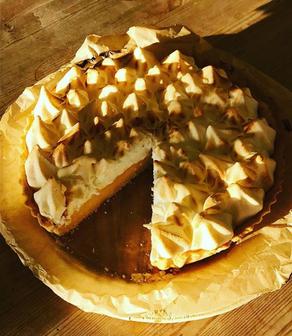 This slice of sunshine is our homemade lemon meringue pie.