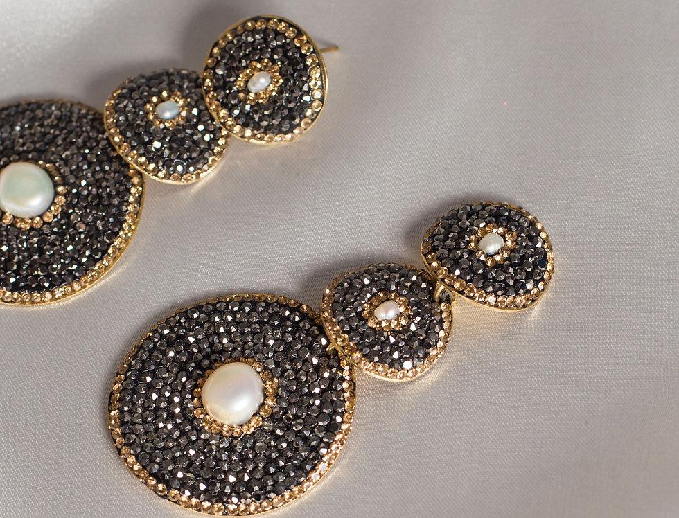 3 Tier drop earrings in Gunmetal