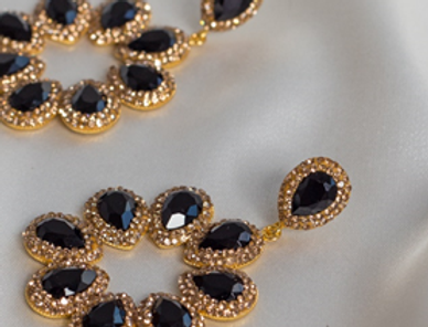 Midnight & Gold Halo Earrings