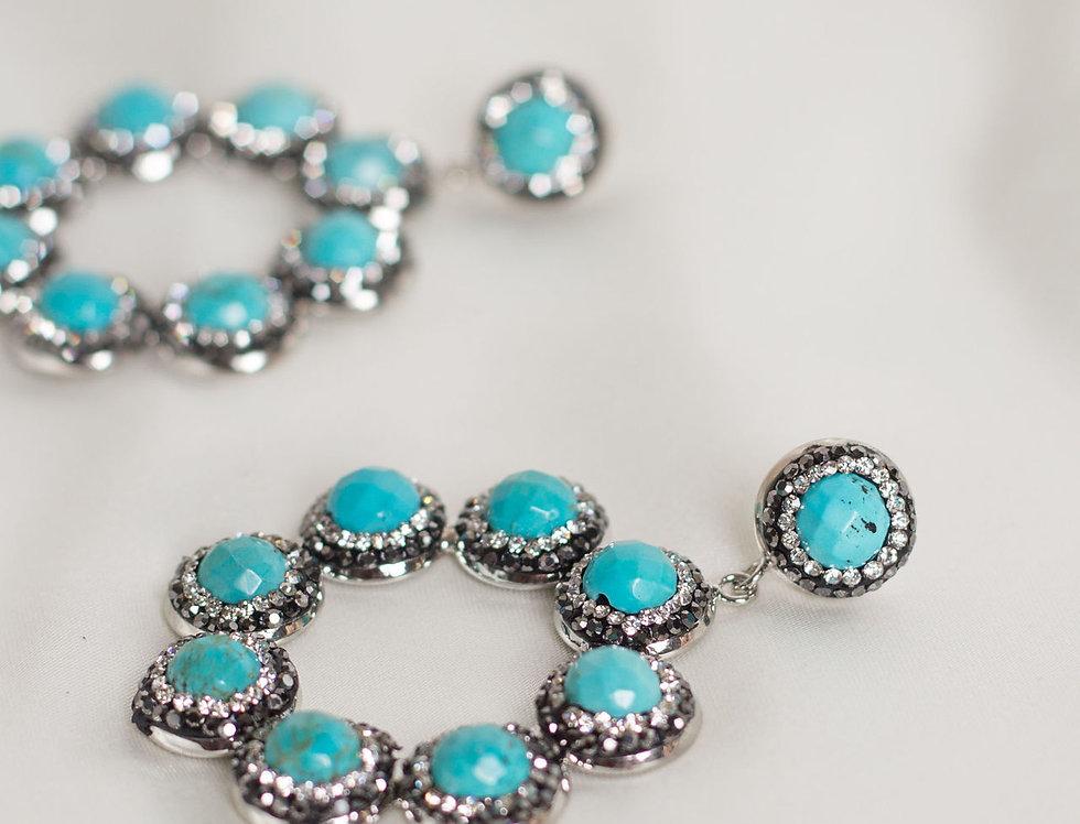 Halo Ring Hoop Earrings In Turquoise/Silver