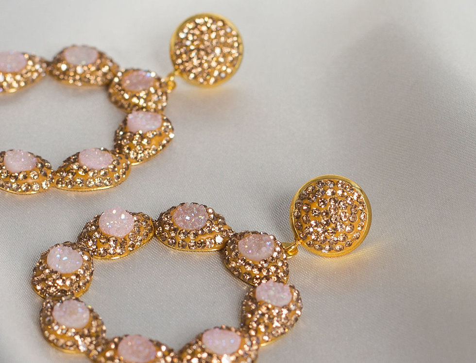Powder Pink and Gold Halo Circle Earrings