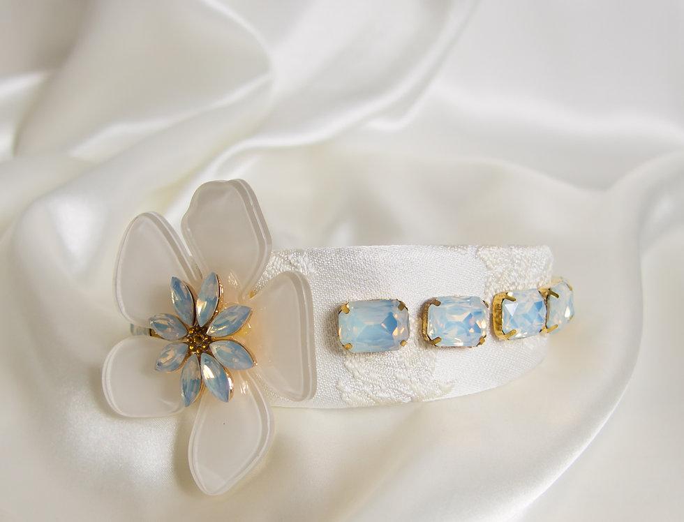 Winnie Crown Headband With Flower Detail In White