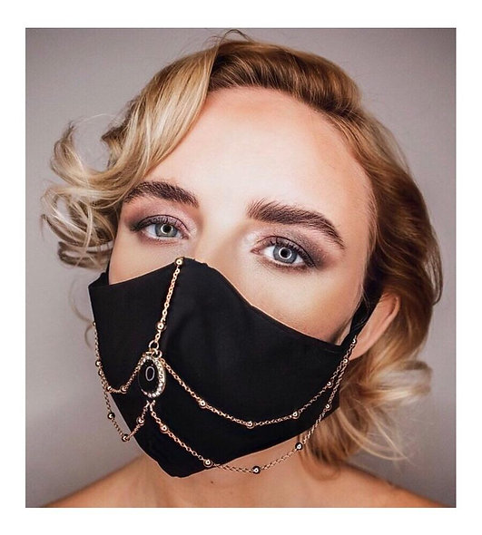 Black Stone & Gold Chain Face Mask