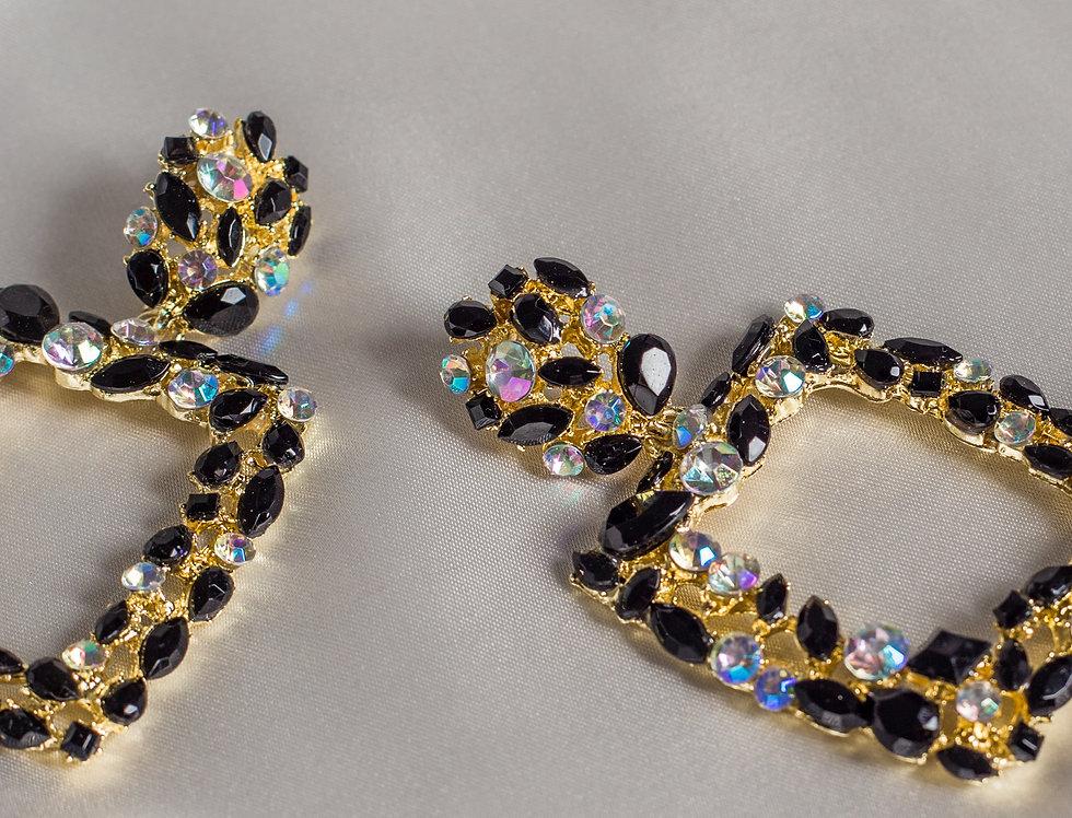 Crystal Cleo Earrings in Midinight Diamond