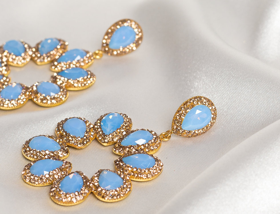 Summer Sky Blue Halo Earrings