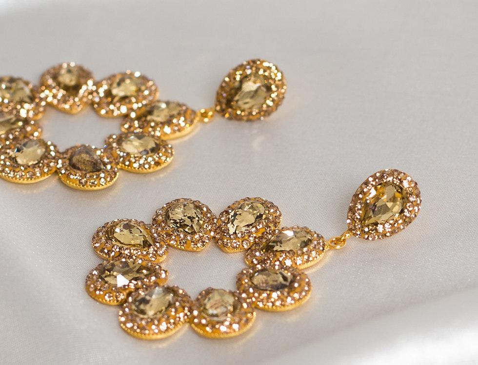 Golden Diamond Halo Earrings