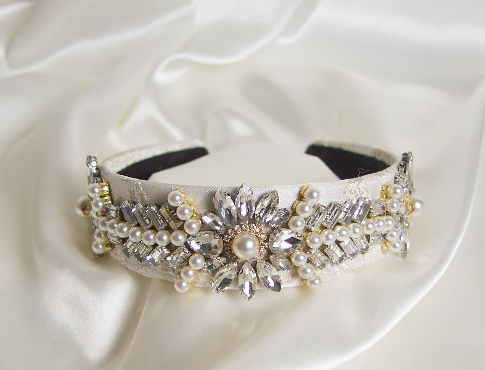 Raine Embellished Crown Headband In Silver