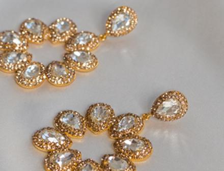 White Diamond & Gold Halo Earrings