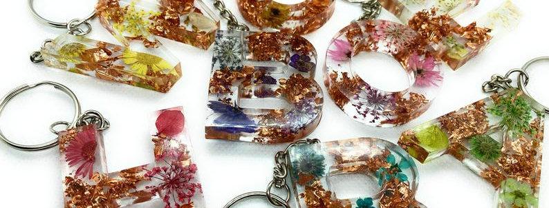 Personalised Letter Keyring, A-Z, Flower and Rose Gold Foil Design Secret Santa