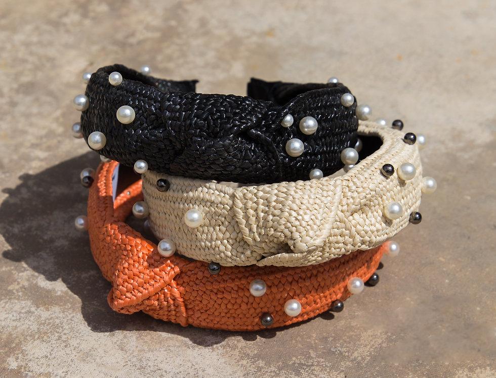 Pearl Beaded Raffia Headbands