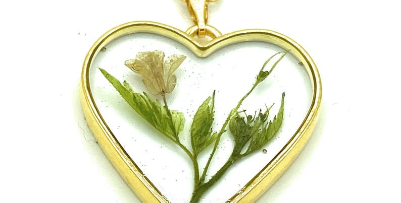 Heart shaped Real Pressed Yellow flower Necklace with Gold plated chain
