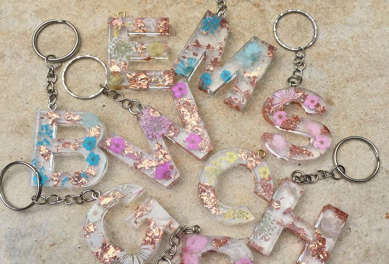Design Your Own Personalised Letter Keyring, A-Z, Flower and Rose Gold Foil