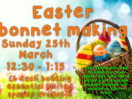 Come and make your Easter bonnets at creativity no stress no mess leave all that to us. ** Limited s