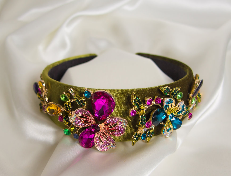 Ivy Embellished Crown Headband In Gold With Pink Flower Detail