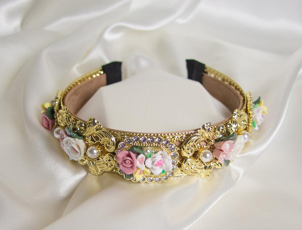 Emillia Embellished Floral Crown Headband In Gold