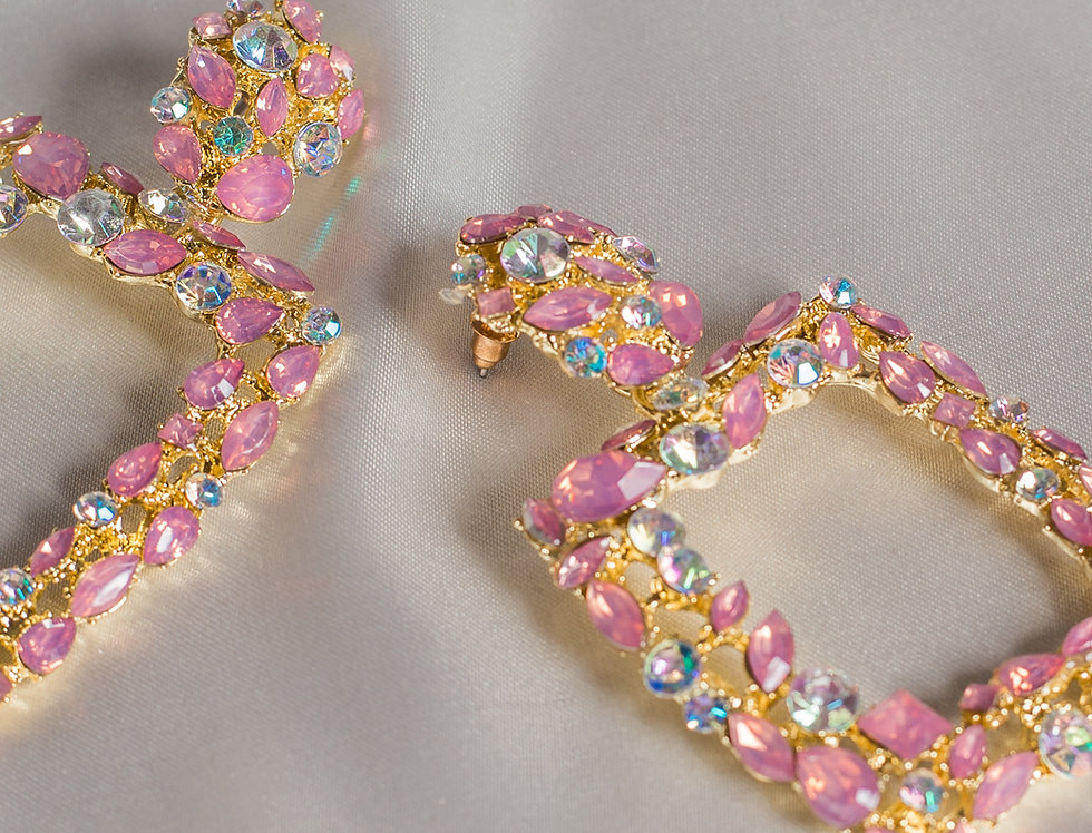 Crystal Cleo Earrings in Baby Pink Diamond