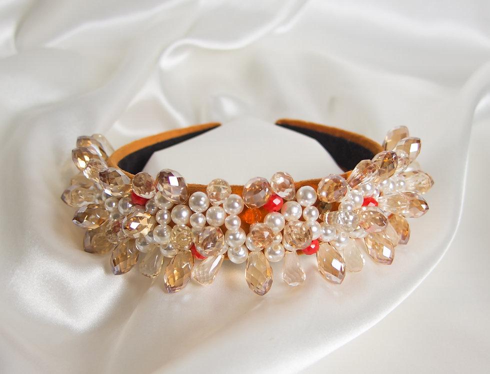 Ollie Embellished Crown Headband In Orange