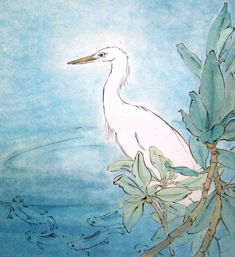 'Patience the egret waits'