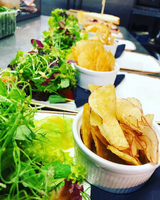 All of our sandwiches come with a side salad and crunchy crisps, yesterday we had quite a production line going in the kitchen. Sometimes it's about doing the simple things well!