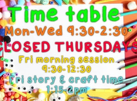 We will be closing at 12:30 on Friday there will be no story & craft time this week and we will
