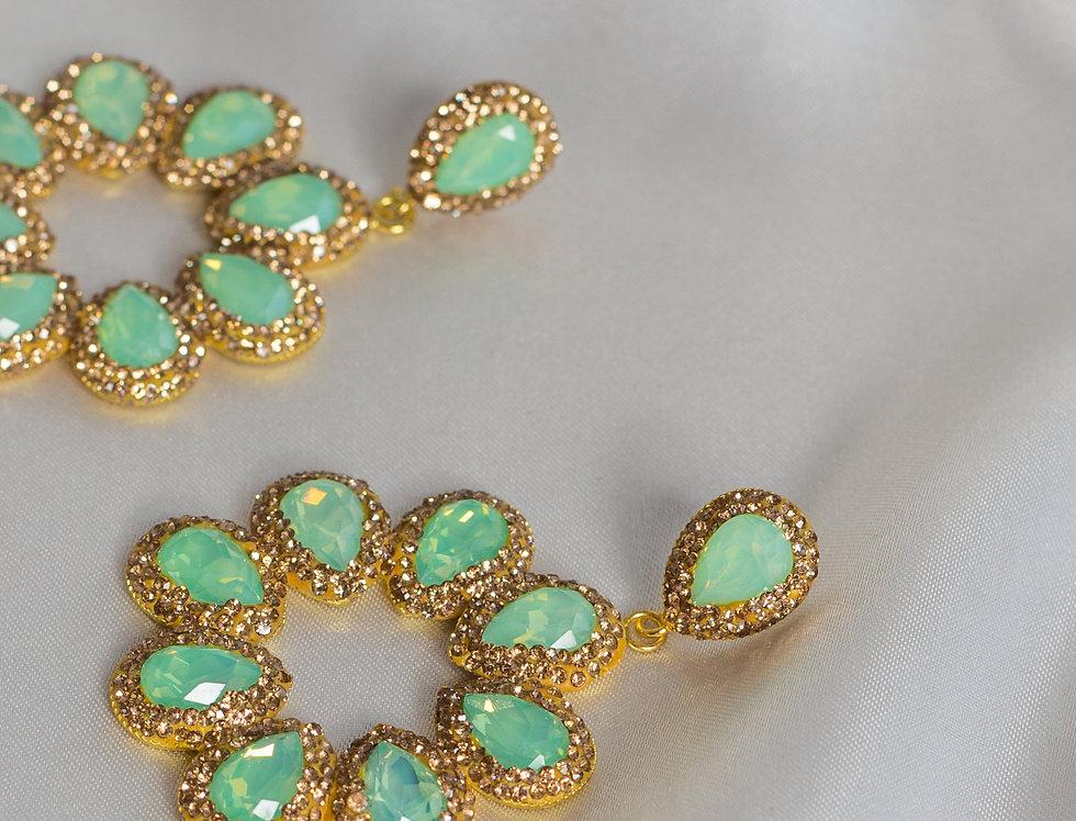 Mint & Gold Halo Earrings