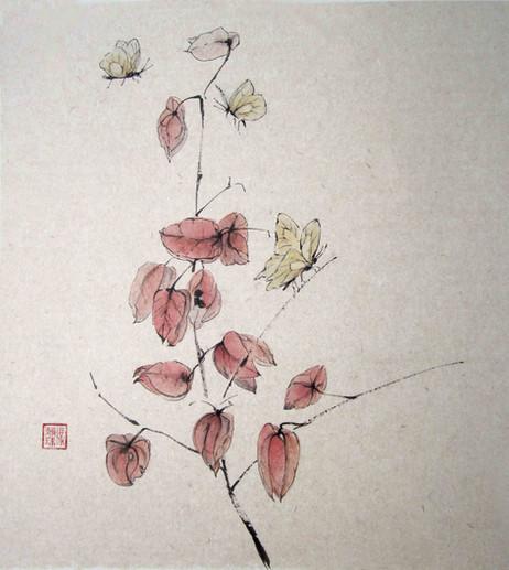 'The fair season butterflies and chinese lanterns'