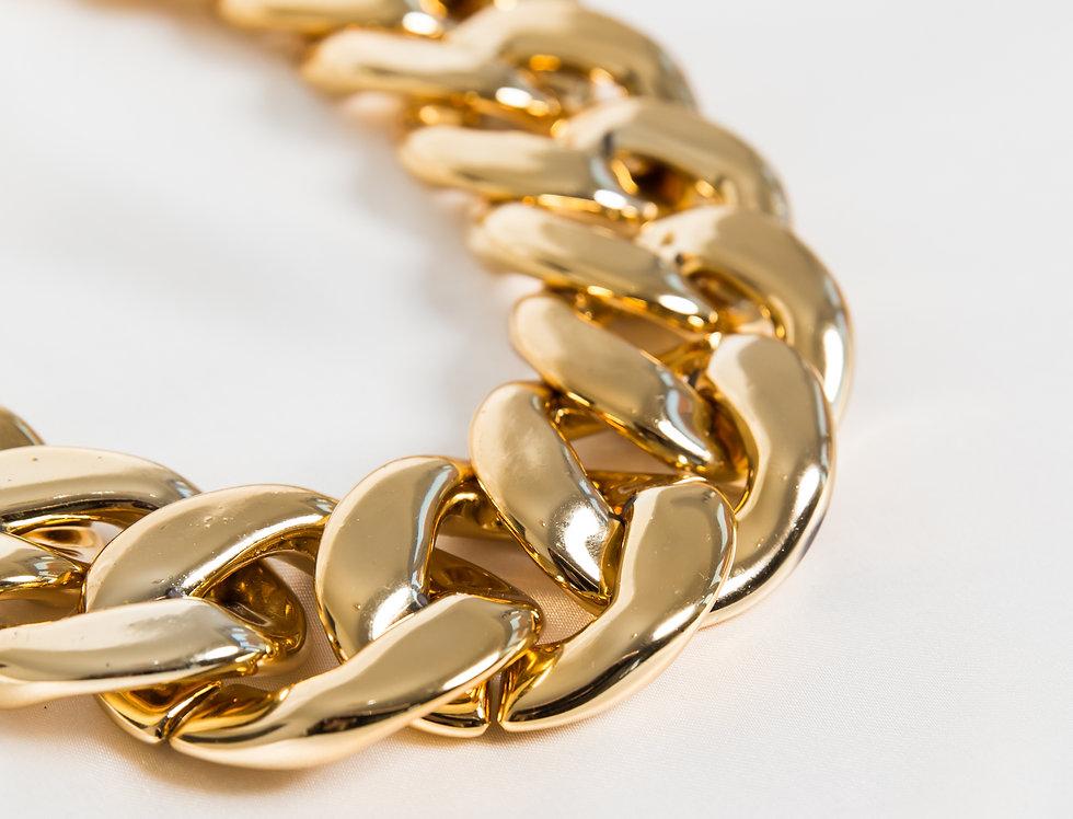 Gold Acrylic Curve Chocker Necklace
