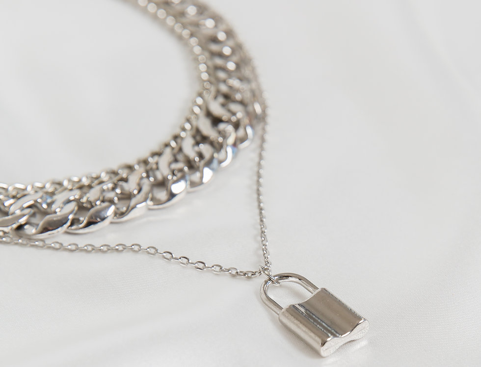 Lucky Lock Pendant Silver Curb Chain
