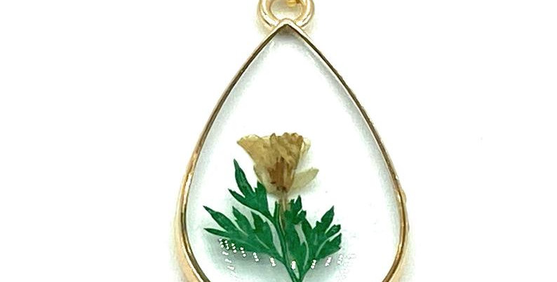 Teardrop shaped Real Pressed Dried Yellow flower Necklace with Gold plated chain