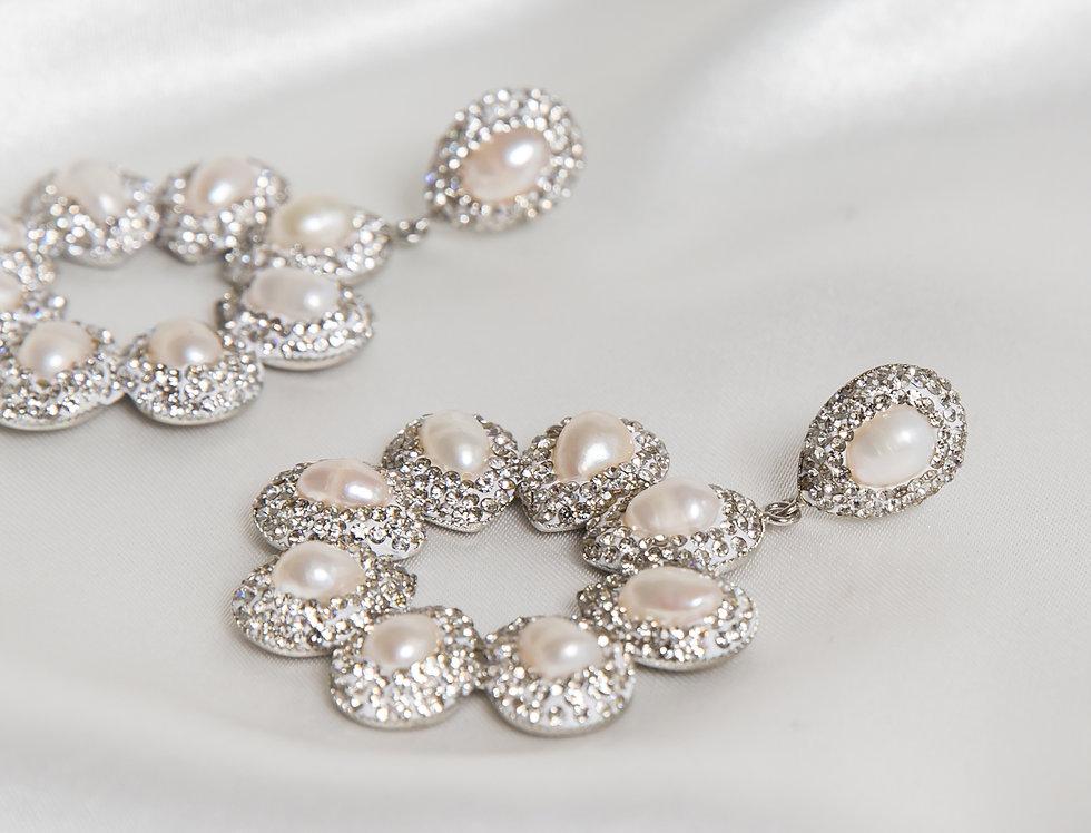 Pearl & Silver Halo Earrings