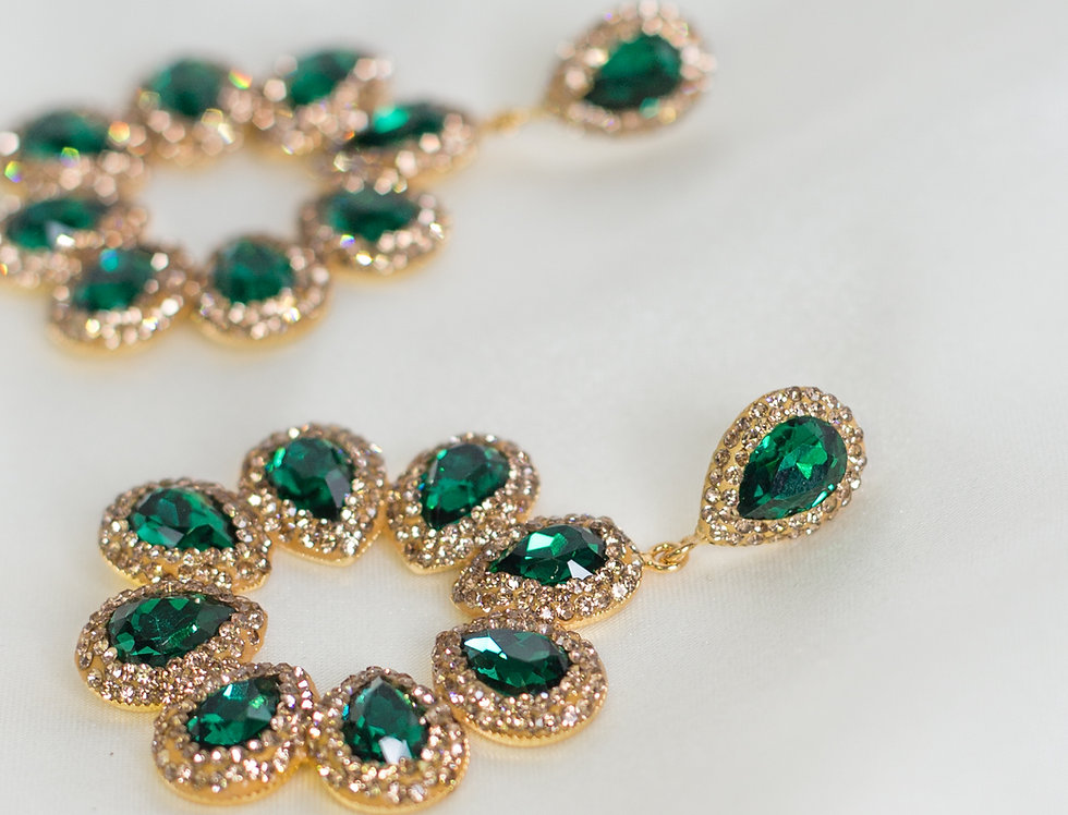 Emerald and Gold Halo Earrings