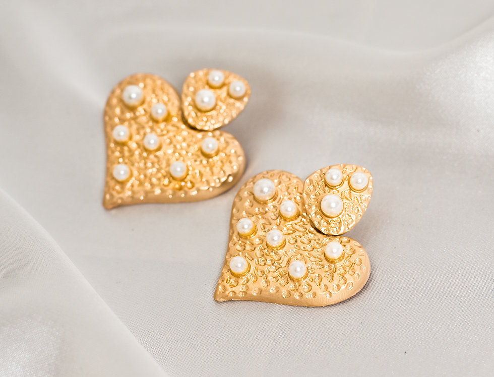 Golden Pearl Heart Earrings