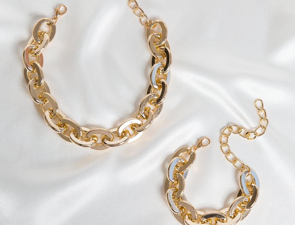 Gold Suki Curb Chain Set