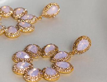Ballet Slipper & Gold Halo Earrings