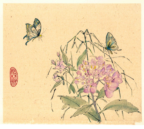 'Hydrangea and Two Butterflies'