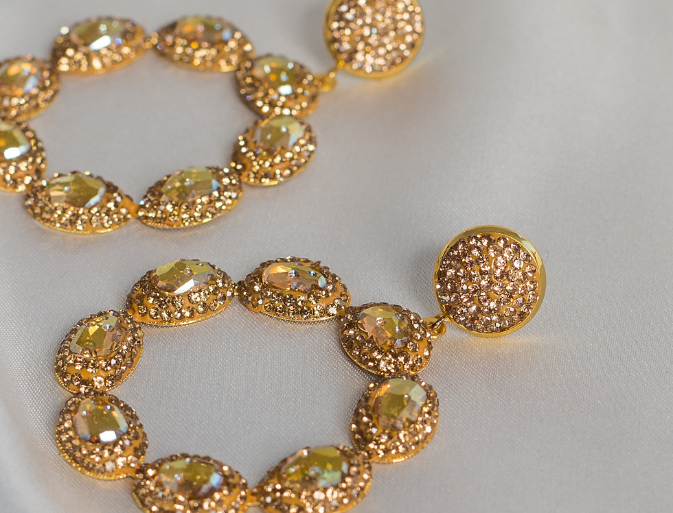 Golden Honey Halo Circle Earrings