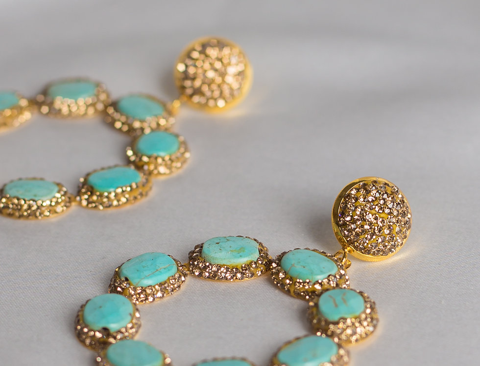 Turquoise & Gold Halo Circle Earrings