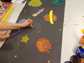 Tonight we all worked together and made a fantastic space scene! We did planet printing with balloon