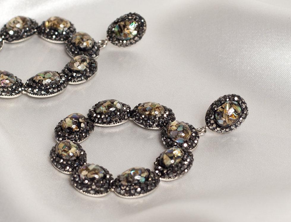 Peacock Halo Circle Earrings