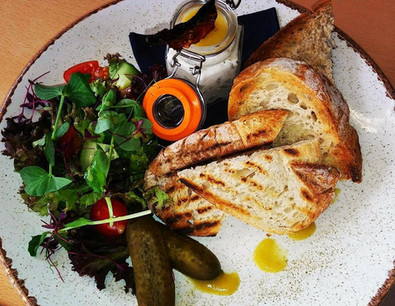 Homemade smoked mackerel pate served with toasted sourdough and a side salad.