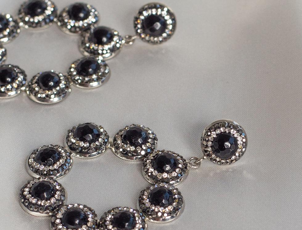 Halo Ring Hoop Earrings In Black/Silver