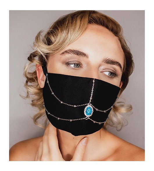 Blue Stone & Silver Chain Face Mask