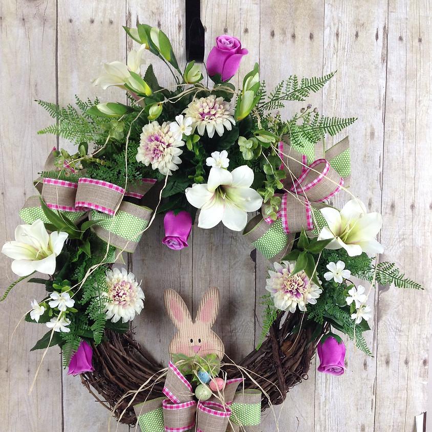 An Easter door wreath
