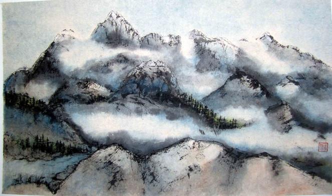 'Cloudy Peaks: Canadian Rockies'