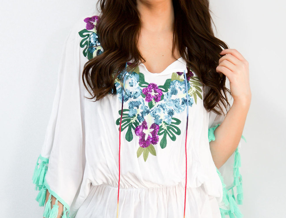 Boho White Kaftan With Floral And Sequin Detail